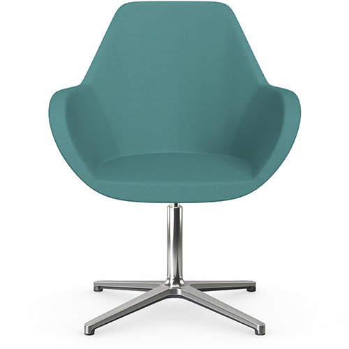 Fan Swivel Armchair with 4 Star Base Muddy Aqua Sprint Fabric Seat &Polished Aluminium Base - Perfect Seating Solution for Breakout, Reception Areas &Boardroom