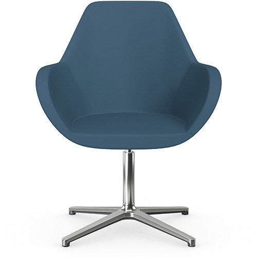 Fan Swivel Armchair with 4 Star Base Aqua Blue Valencia Leather Look Seat &Polished Aluminium Base - Perfect Seating Solution for Breakout, Reception Areas &Boardroom