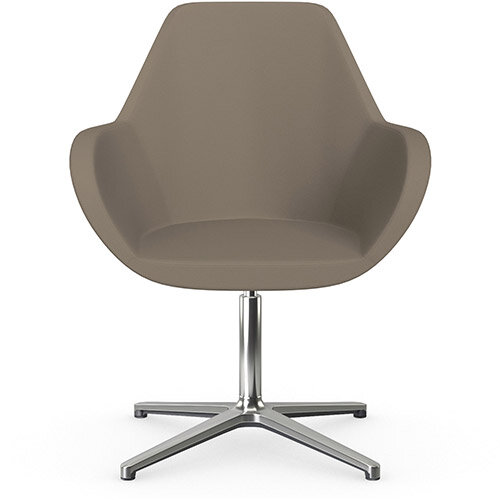 Fan Swivel Armchair with 4 Star Base Brown Valencia Leather Look Seat &Polished Aluminium Base - Perfect Seating Solution for Breakout, Reception Areas &Boardroom