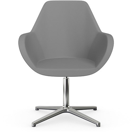 Fan Swivel Armchair with 4 Star Base Grey Valencia Leather Look Seat &Polished Aluminium Base - Perfect Seating Solution for Breakout, Reception Areas &Boardroom
