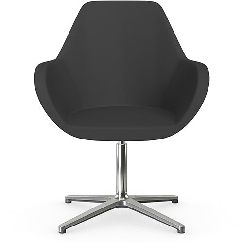 Fan Swivel Armchair with 4 Star Base Charcoal Valencia Leather Look Seat &Polished Aluminium Base - Perfect Seating Solution for Breakout, Reception Areas &Boardroom
