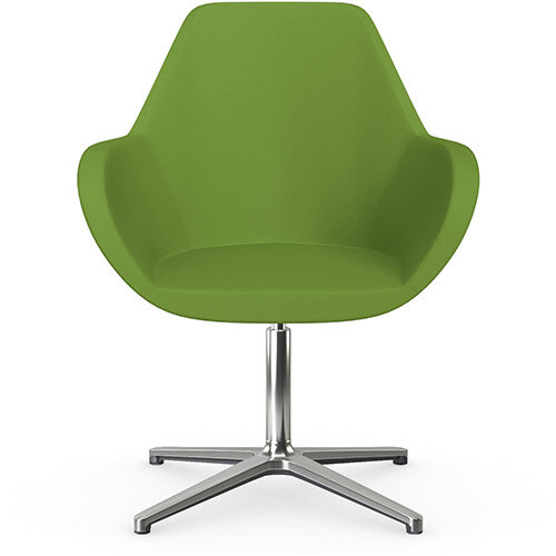 Fan Swivel Armchair with 4 Star Base Green Valencia Leather Look Seat &Polished Aluminium Base - Perfect Seating Solution for Breakout, Reception Areas &Boardroom