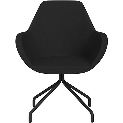 Fan 4 Legged Armchair Black Evo Fabric Seat &Black Base with Universal Teflon Glides  - Perfect Seating Solution for Breakout, Reception Areas &Boardroom