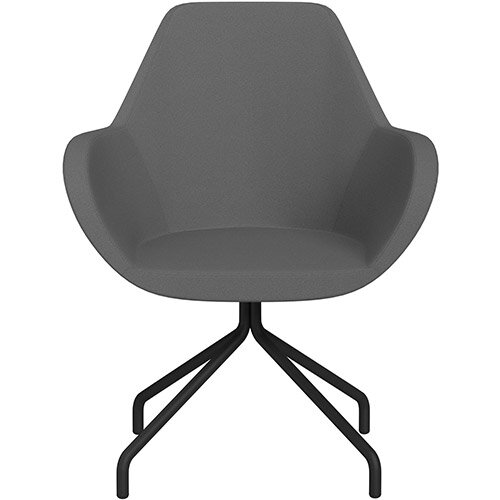Fan 4 Legged Armchair Grey Evo Fabric Seat &Black Base with Universal Teflon Glides  - Perfect Seating Solution for Breakout, Reception Areas &Boardroom