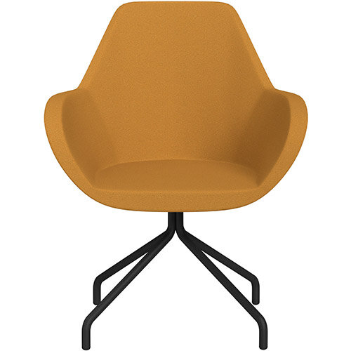 Fan 4 Legged Armchair Yellow Evo Fabric Seat &Black Base with Universal Teflon Glides  - Perfect Seating Solution for Breakout, Reception Areas &Boardroom