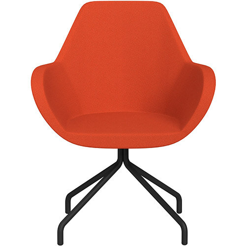 Fan 4 Legged Armchair Light Orange Evo Fabric Seat &Black Base with Universal Teflon Glides  - Perfect Seating Solution for Breakout, Reception Areas &Boardroom