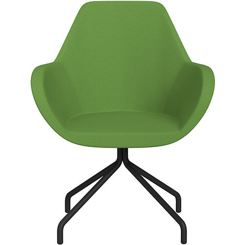 Fan 4 Legged Armchair Green Evo Fabric Seat &Black Base with Universal Teflon Glides  - Perfect Seating Solution for Breakout, Reception Areas &Boardroom