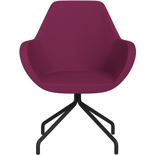 Fan 4 Legged Armchair Pink Evo Fabric Seat &Black Base with Universal Teflon Glides  - Perfect Seating Solution for Breakout, Reception Areas &Boardroom