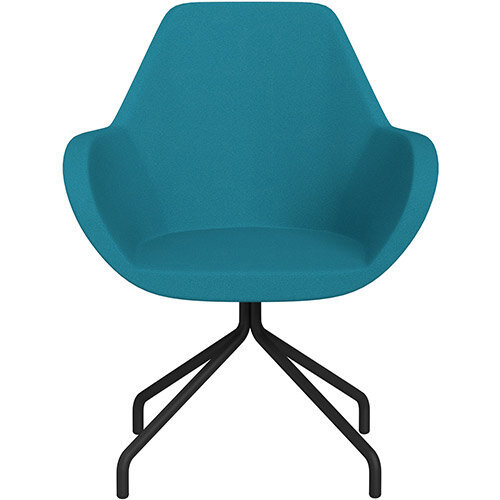 Fan 4 Legged Armchair Aquamarine Evo Fabric Seat &Black Base with Universal Teflon Glides  - Perfect Seating Solution for Breakout, Reception Areas &Boardroom