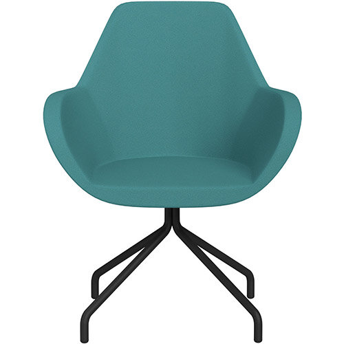 Fan 4 Legged Armchair Aqua Green Evo Fabric Seat &Black Base with Universal Teflon Glides - Perfect Seating Solution for Breakout, Reception Areas &Boardroom