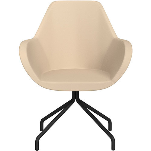 Fan 4 Legged Armchair Beige Softline Leather Look Seat &Black Base with Universal Teflon Glides  - Perfect Seating Solution for Breakout, Reception Areas &Boardroom
