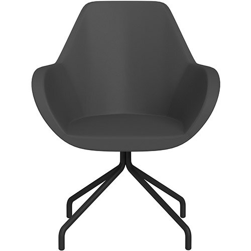 Fan 4 Legged Armchair Dark Brown Softline Leather Look Seat &Black Base with Universal Teflon Glides  - Perfect Seating Solution for Breakout, Reception Areas &Boardroom
