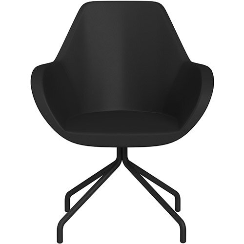 Fan 4 Legged Armchair Black Softline Leather Look Seat &Black Base with Universal Teflon Glides  - Perfect Seating Solution for Breakout, Reception Areas &Boardroom
