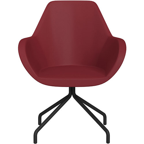 Fan 4 Legged Armchair Red Softline Leather Look Seat &Black Base with Universal Teflon Glides  - Perfect Seating Solution for Breakout, Reception Areas &Boardroom