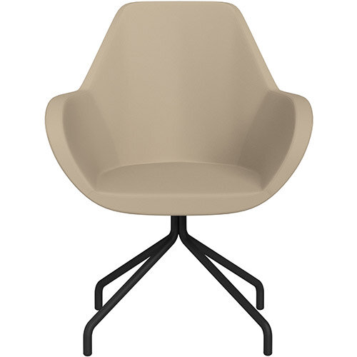 Fan 4 Legged Armchair Light Brown Softline Leather Look Seat &Black Base with Universal Teflon Glides  - Perfect Seating Solution for Breakout, Reception Areas &Boardroom