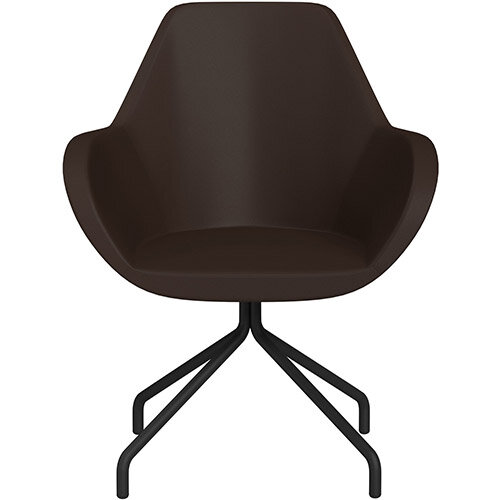 Fan 4 Legged Armchair Brown Softline Leather Look Seat &Black Base with Universal Teflon Glides  - Perfect Seating Solution for Breakout, Reception Areas &Boardroom