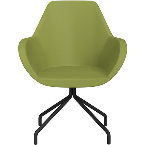 Fan 4 Legged Armchair Olive Green Softline Leather Look Seat &Black Base with Universal Teflon Glides - Perfect Seating Solution for Breakout, Reception Areas &Boardroom