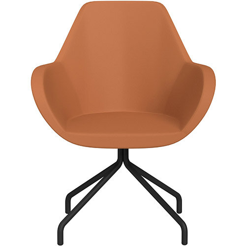 Fan 4 Legged Armchair Orange Softline Leather Look Seat &Black Base with Universal Teflon Glides  - Perfect Seating Solution for Breakout, Reception Areas &Boardroom