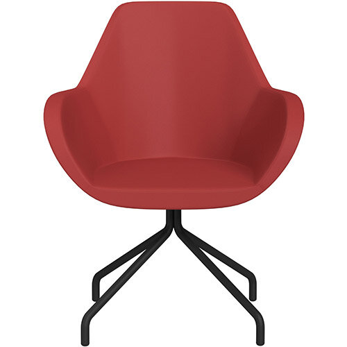 Fan 4 Legged Armchair Light Red Softline Leather Look Seat &Black Base with Universal Teflon Glides  - Perfect Seating Solution for Breakout, Reception Areas &Boardroom