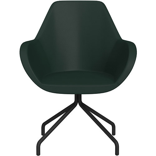 Fan 4 Legged Armchair Dark Green Softline Leather Look Seat &Black Base with Universal Teflon Glides  - Perfect Seating Solution for Breakout, Reception Areas &Boardroom