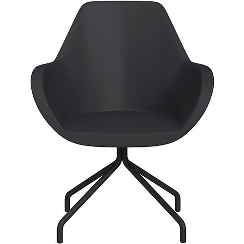 Fan 4 Legged Armchair Dark Purple Softline Leather Look Seat &Black Base with Universal Teflon Glides  - Perfect Seating Solution for Breakout, Reception Areas &Boardroom