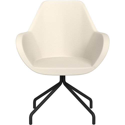 Fan 4 Legged Armchair White Softline Leather Look Seat &Black Base with Universal Teflon Glides  - Perfect Seating Solution for Breakout, Reception Areas &Boardroom