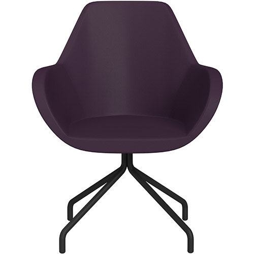Fan 4 Legged Armchair Light Purple Softline Leather Look Seat &Black Base with Universal Teflon Glides  - Perfect Seating Solution for Breakout, Reception Areas &Boardroom