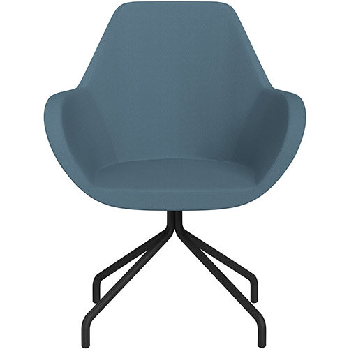 Fan 4 Legged Armchair Light Aqua Sprint Fabric Seat &Black Base with Universal Teflon Glides  - Perfect Seating Solution for Breakout, Reception Areas &Boardroom