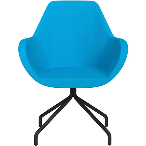 Fan 4 Legged Armchair Sky Blue Sprint Fabric Seat &Black Base with Universal Teflon Glides  - Perfect Seating Solution for Breakout, Reception Areas &Boardroom