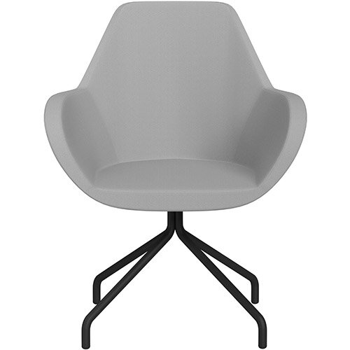 Fan 4 Legged Armchair Light Grey Sprint Fabric Seat &Black Base with Universal Teflon Glides  - Perfect Seating Solution for Breakout, Reception Areas &Boardroom