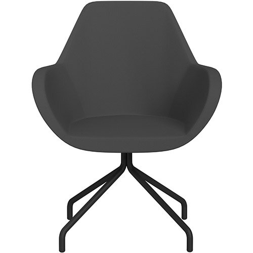 Fan 4 Legged Armchair Dark Grey Sprint Fabric Seat &Black Base with Universal Teflon Glides  - Perfect Seating Solution for Breakout, Reception Areas &Boardroom