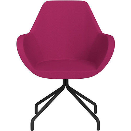 Fan 4 Legged Armchair Pink Sprint Fabric Seat &Black Base with Universal Teflon Glides  - Perfect Seating Solution for Breakout, Reception Areas &Boardroom