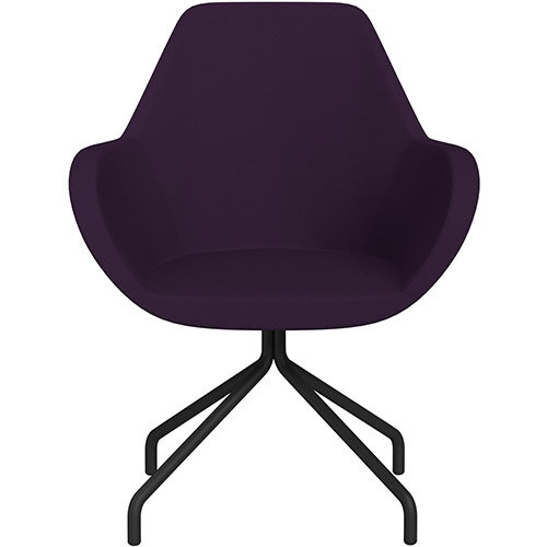 Fan 4 Legged Armchair Plum Purple Sprint Fabric Seat &Black Base with Universal Teflon Glides  - Perfect Seating Solution for Breakout, Reception Areas &Boardroom