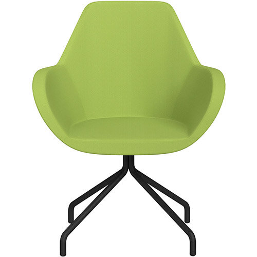 Fan 4 Legged Armchair Light Green Sprint Fabric Seat &Black Base with Universal Teflon Glides  - Perfect Seating Solution for Breakout, Reception Areas &Boardroom