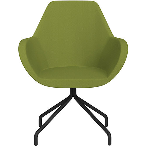 Fan 4 Legged Armchair Olive Green Sprint Fabric Seat &Black Base with Universal Teflon Glides - Perfect Seating Solution for Breakout, Reception Areas &Boardroom