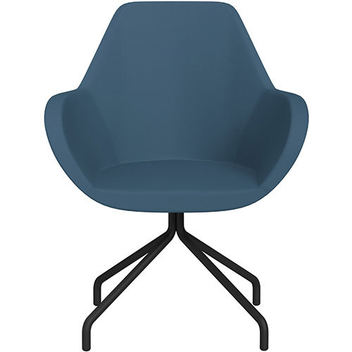 Fan 4 Legged Armchair Aqua Blue Valencia Leather Look Seat &Black Base with Universal Teflon Glides  - Perfect Seating Solution for Breakout, Reception Areas &Boardroom