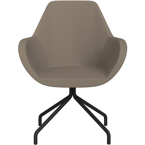 Fan 4 Legged Armchair Brown Valencia Leather Look Seat &Black Base with Universal Teflon Glides  - Perfect Seating Solution for Breakout, Reception Areas &Boardroom