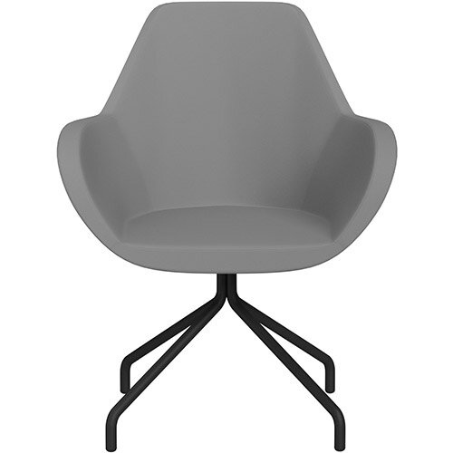 Fan 4 Legged Armchair Grey Valencia Leather Look Seat &Black Base with Universal Teflon Glides  - Perfect Seating Solution for Breakout, Reception Areas &Boardroom