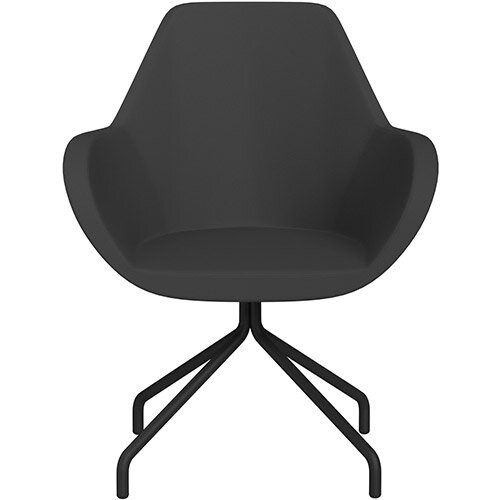 Fan 4 Legged Armchair Charcoal Valencia Leather Look Seat &Black Base with Universal Teflon Glides  - Perfect Seating Solution for Breakout, Reception Areas &Boardroom