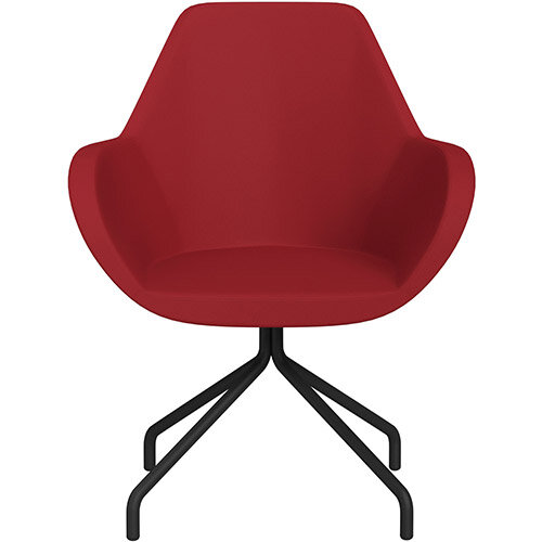 Fan 4 Legged Armchair Red Valencia Leather Look Seat &Black Base with Universal Teflon Glides  - Perfect Seating Solution for Breakout, Reception Areas &Boardroom