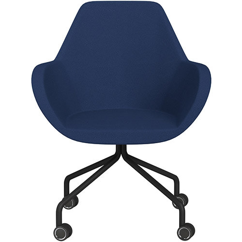 Fan 4 Legged Armchair Navy Evo Fabric Seat &Black Base with Decorative Castors - Perfect Seating Solution for Breakout, Reception Areas &Boardroom