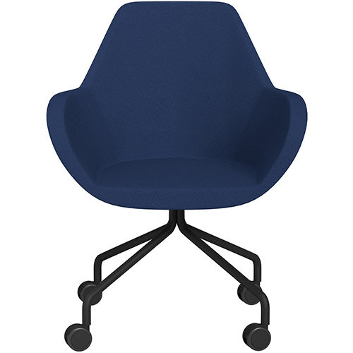 Fan 4 Legged Armchair Navy Evo Fabric Seat &Black Base with Castors for Soft Floors  - Perfect Seating Solution for Breakout, Reception Areas &Boardroom