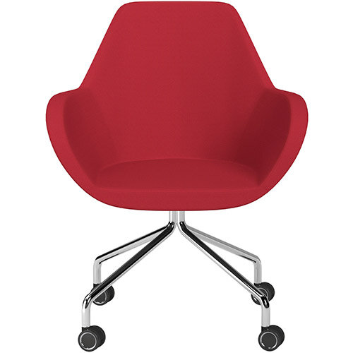 Fan 4 Legged Armchair Vivid Red Sprint Fabric Seat &Chrome Base with Decorative Castors - Perfect Seating Solution for Breakout, Reception Areas &Boardroom