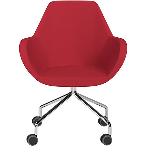 Fan 4 Legged Armchair Vivid Red Sprint Fabric Seat &Chrome Base with Castors for Hard Floors  - Perfect Seating Solution for Breakout, Reception Areas &Boardroom