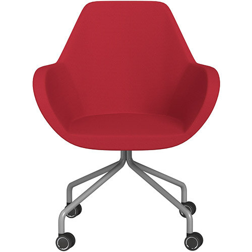 Fan 4 Legged Armchair Vivid Red Sprint Fabric Seat &Metallic Silver Base with Decorative Castors - Perfect Seating Solution for Breakout, Reception Areas &Boardroom
