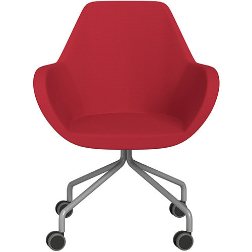 Fan 4 Legged Armchair Vivid Red Sprint Fabric Seat &Metallic Silver Base with Castors for Hard Floors  - Perfect Seating Solution for Breakout, Reception Areas &Boardroom