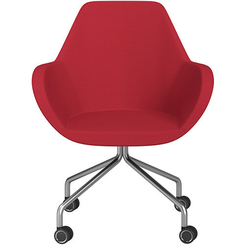 Fan 4 Legged Armchair Vivid Red Sprint Fabric Seat &Satine Base with Decorative Castors - Perfect Seating Solution for Breakout, Reception Areas &Boardroom