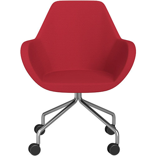 Fan 4 Legged Armchair Vivid Red Sprint Fabric Seat &Satine Base with Castors for Soft Floors  - Perfect Seating Solution for Breakout, Reception Areas &Boardroom