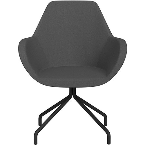 Fan 4 Legged Swivel Armchair Dark Grey Evo Fabric Seat &Black Base with Universal Teflon Glides  - Perfect Seating Solution for Breakout, Reception Areas &Boardroom