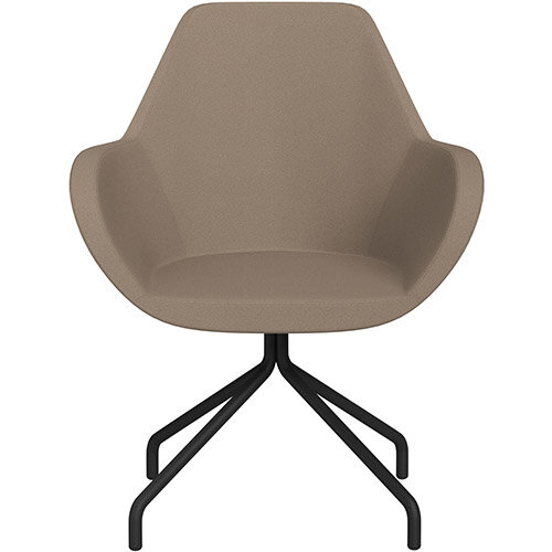 Fan 4 Legged Swivel Armchair Beige Evo Fabric Seat &Black Base with Universal Teflon Glides  - Perfect Seating Solution for Breakout, Reception Areas &Boardroom